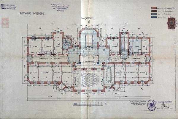 r. 1908 - plán půdorysu přízemí radnice.jpg